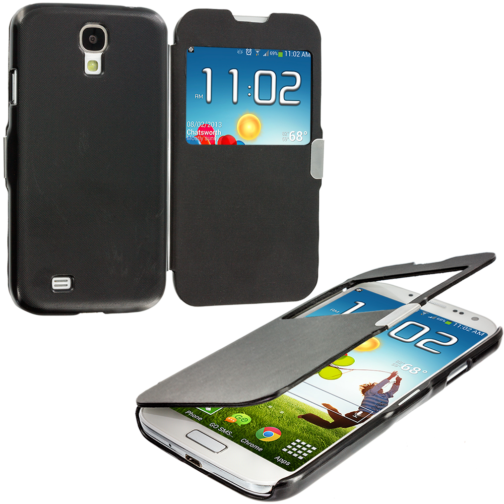 Samsung Galaxy S4 Black Magnetic Wallet Case Cover Pouch