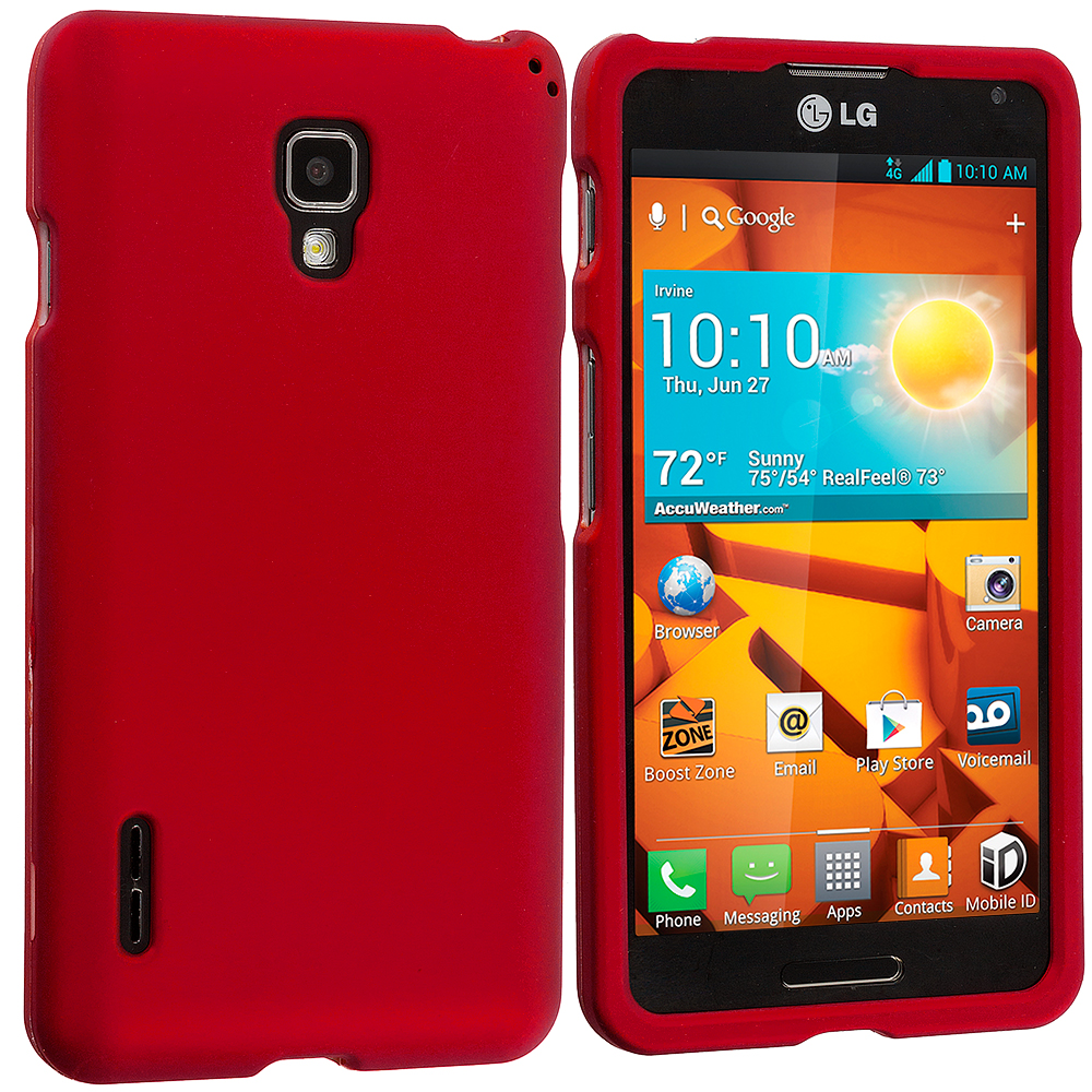 LG Optimus F7 Red Hard Rubberized Case Cover