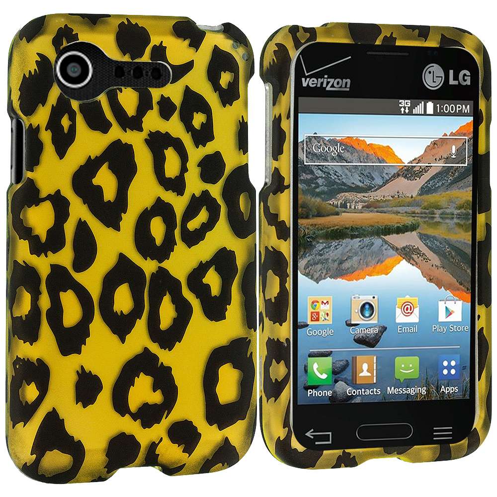 LG Optimus Zone 2 / Fuel L34C Black Leopard on Golden 2D Hard Rubberized Design Case Cover