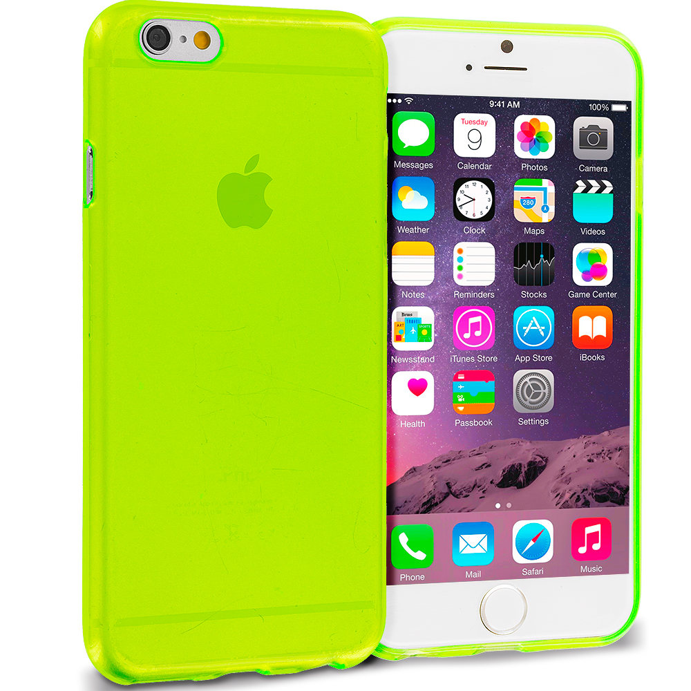 Apple iPhone 6 Plus 6S Plus (5.5) 10 in 1 Combo Bundle Pack - Transparent TPU Rubber Skin Case Cover : Color Neon Green Transparent