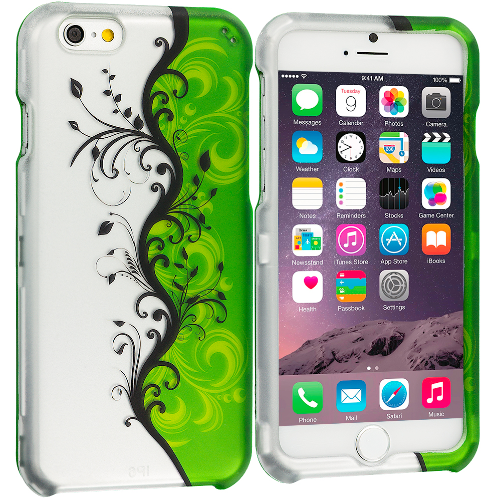 Apple iPhone 6 6S (4.7) Green / White Swirl 2D Hard Rubberized Design Case Cover