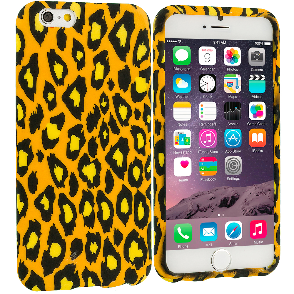 Apple iPhone 6 Plus 6S Plus (5.5) Black Leopard on Golden TPU Design Soft Rubber Case Cover