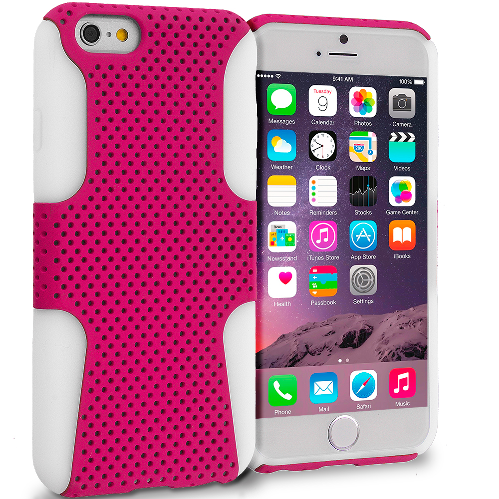 Apple iPhone 6 Plus 6S Plus (5.5) White / Hot Pink Hybrid Mesh Hard/Soft Case Cover