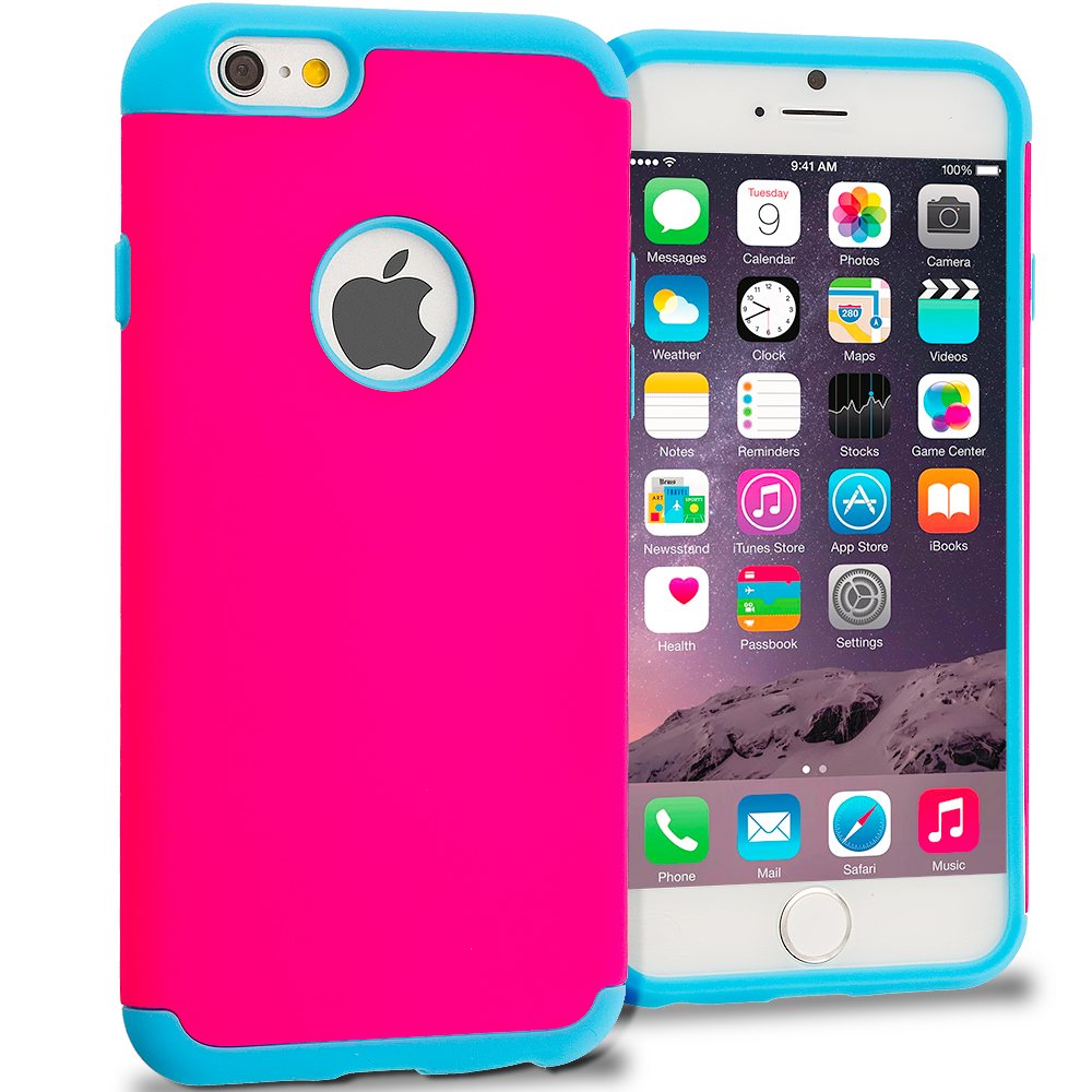 Apple iPhone 6 6S (4.7) 5 in 1 Combo Bundle Pack - Hybrid Slim Hard Soft Rubber Impact Protector Case Cover : Color Baby Blue / Hot Pink