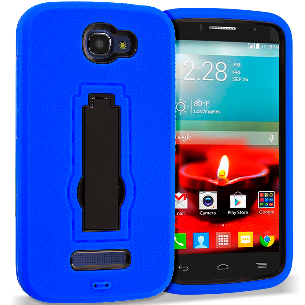 Alcatel One Touch Fierce 2 7040T Blue / Black Hybrid Heavy Duty Hard Soft Case Cover with Kickstand