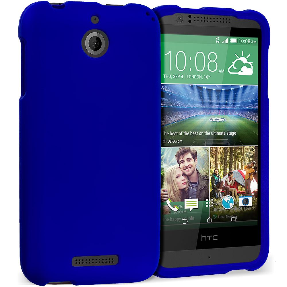HTC Desire 510 Blue Hard Rubberized Case Cover