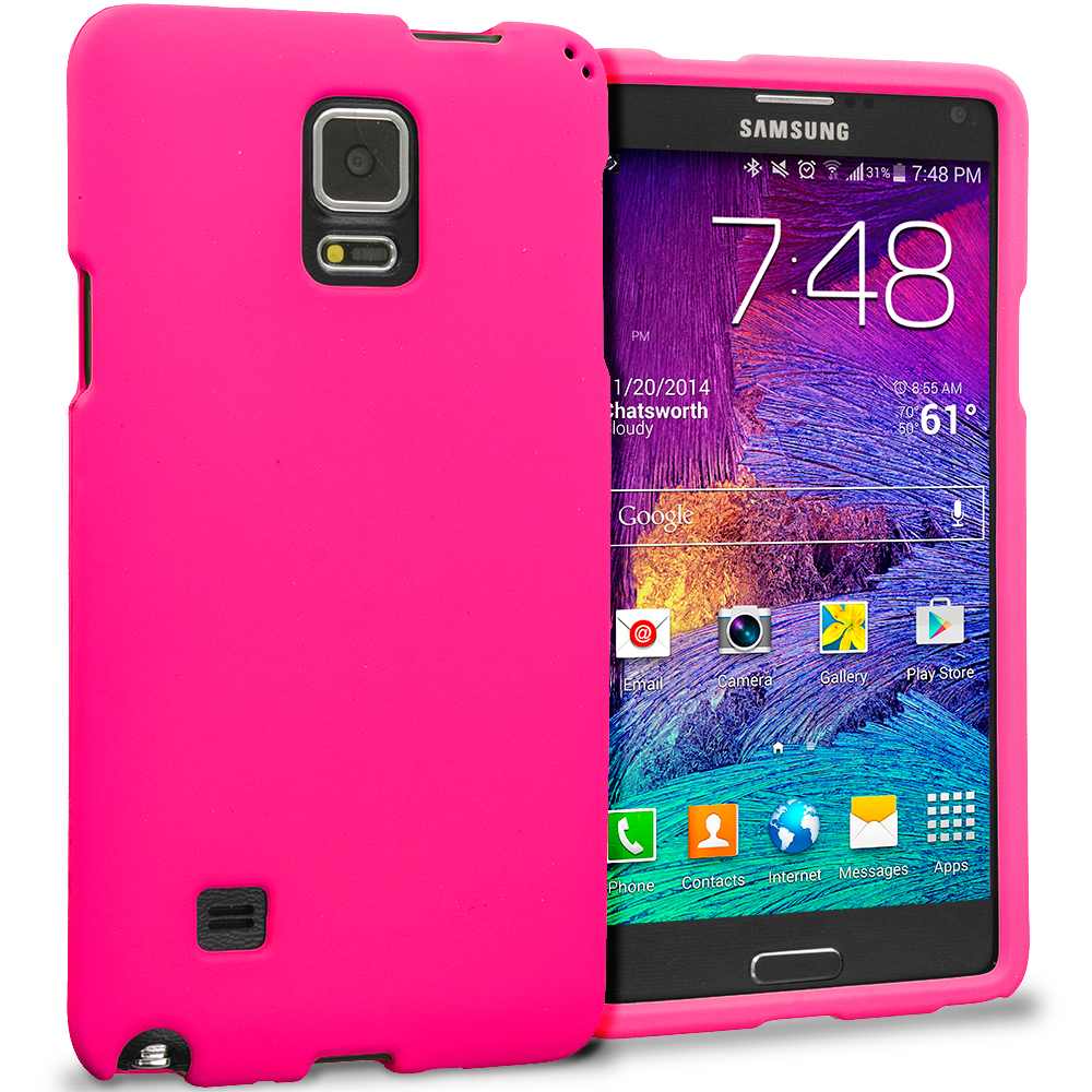 Samsung Galaxy Note 4 Hot Pink Hard Rubberized Case Cover