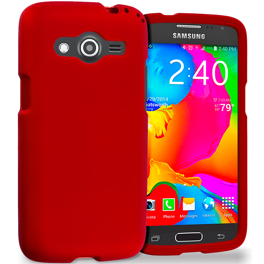 Samsung Galaxy Avant G386 Red Hard Rubberized Case Cover