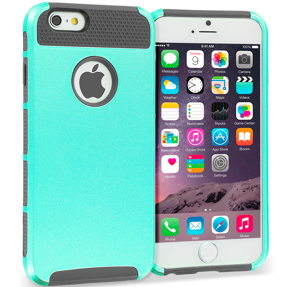 Apple iPhone 6 6S (4.7) 4 in 1 Combo Bundle Pack - Hybrid Hard TPU Honeycomb Rugged Case Cover : Color Mint / Grey