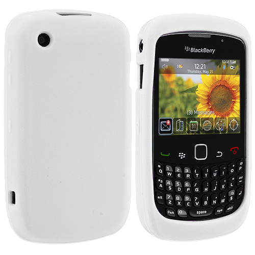 BlackBerry Curve 8520 8530 3G 9300 9330 White Silicone Soft Skin Case Cover