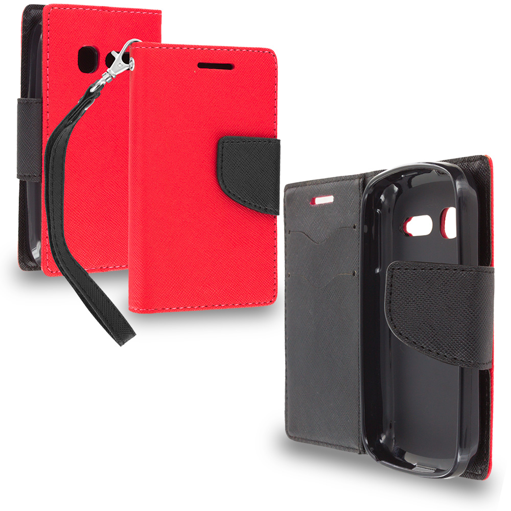 Alcatel One Touch Pop C1 Red / Black Leather Flip Wallet Pouch TPU Case Cover with ID Card Slots