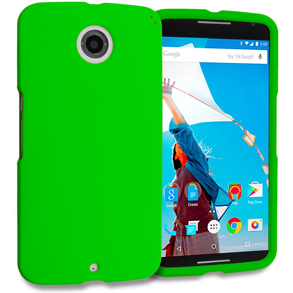 Motorola Google Nexus 6 Neon Green Hard Rubberized Case Cover