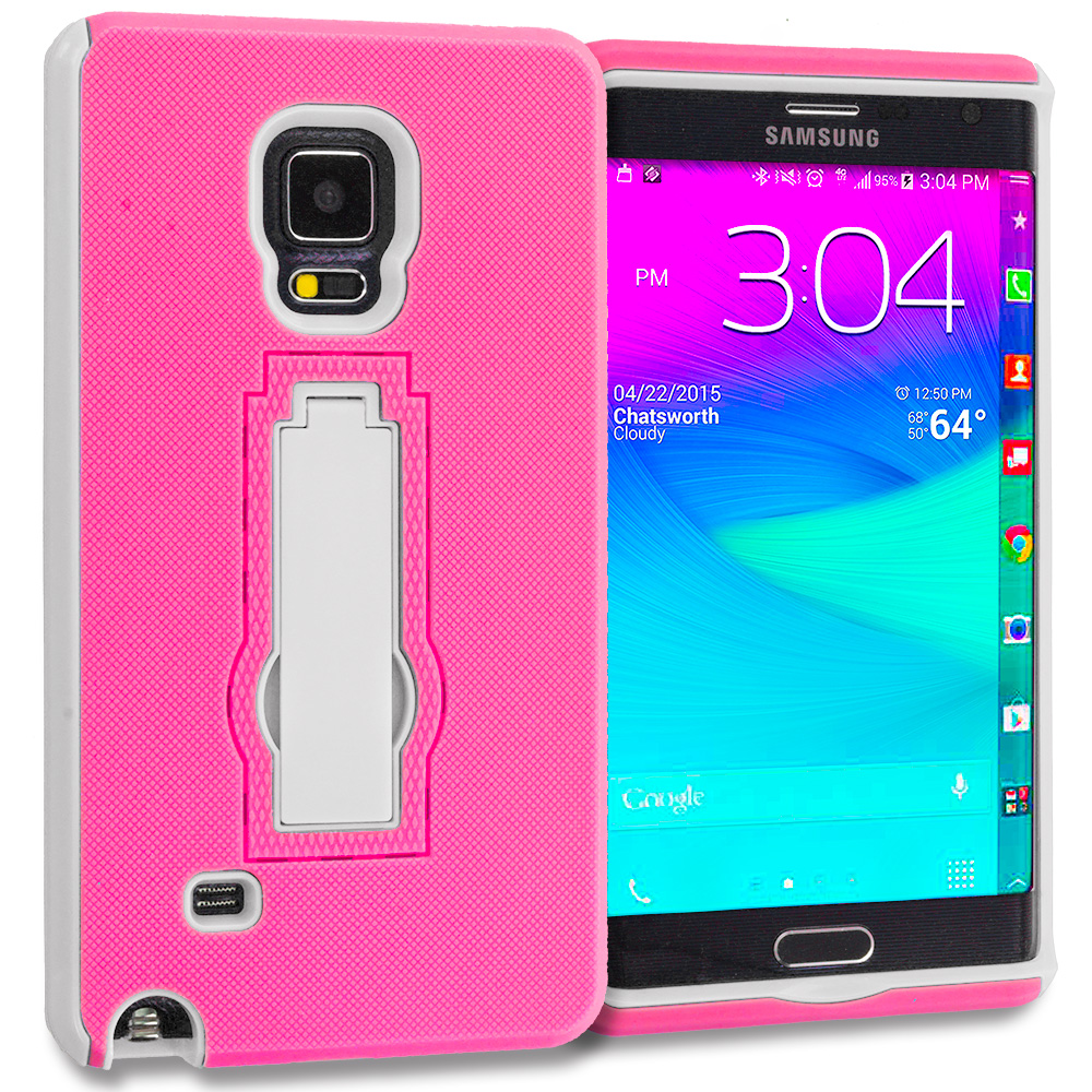 Samsung Galaxy Note Edge Hot Pink / White Hybrid Heavy Duty Hard Soft Case Cover with Kickstand