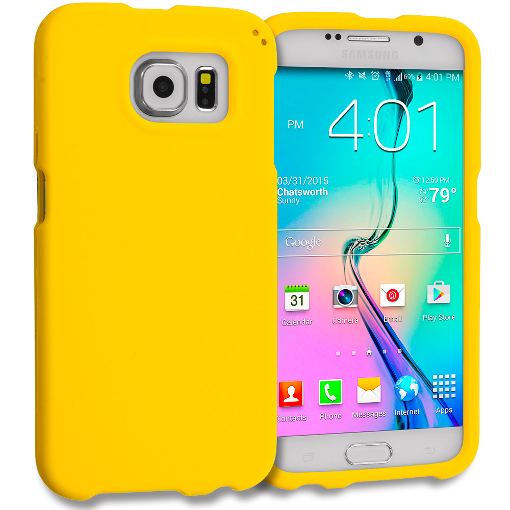 Samsung Galaxy S6 Combo Pack : Neon Green Hard Rubberized Case Cover : Color Yellow