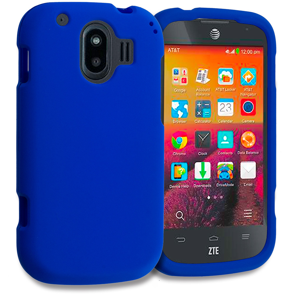 ZTE Compel Blue Hard Rubberized Case Cover
