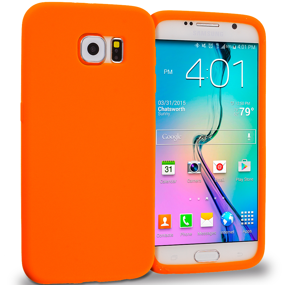 Samsung Galaxy S6 Orange Silicone Soft Skin Rubber Case Cover