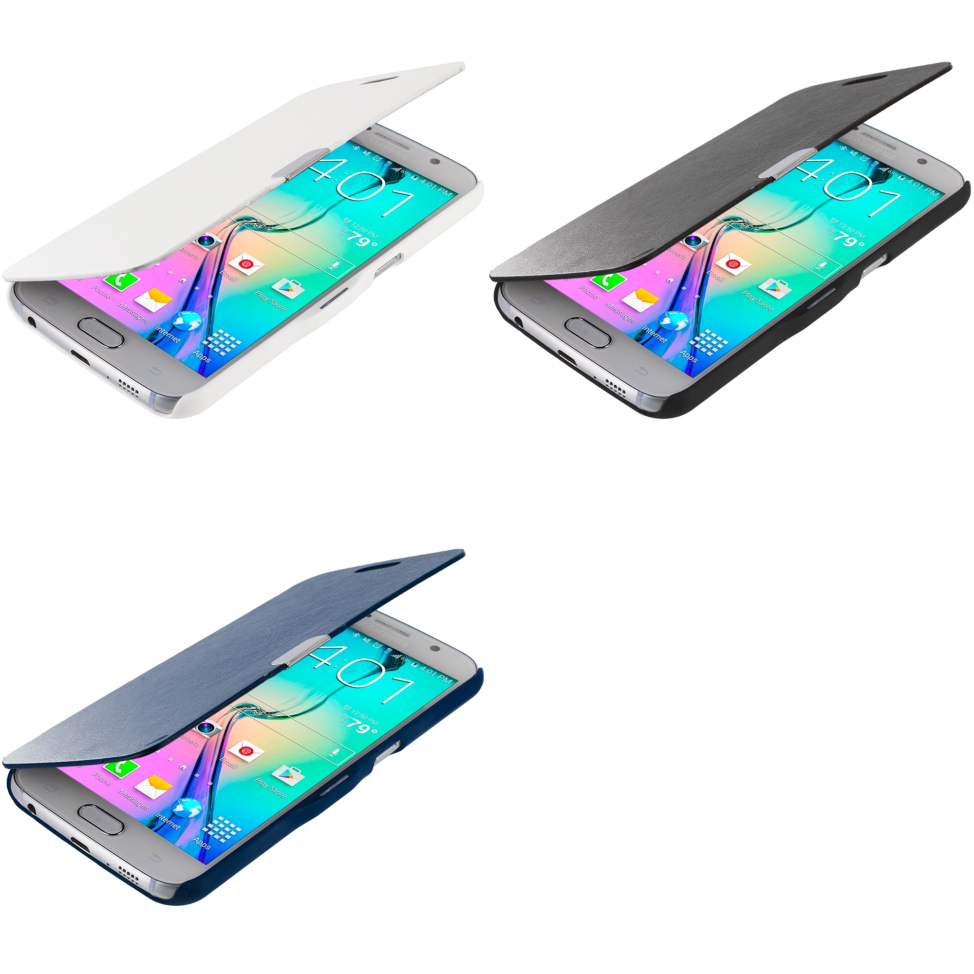 Samsung Galaxy S6 Combo Pack : Black Magnetic Flip Wallet Case Cover Pouch