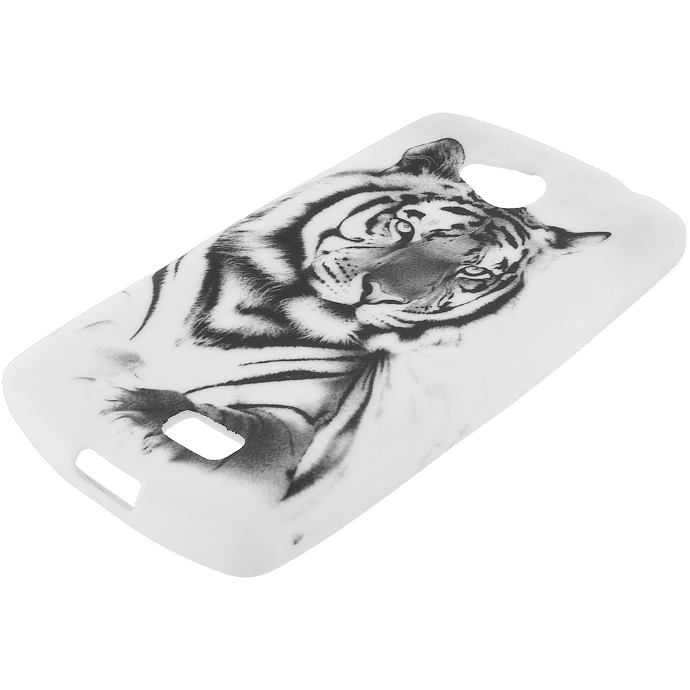 LG Transpyre Tribute F60 White Tiger TPU Design Soft Rubber Case Cover