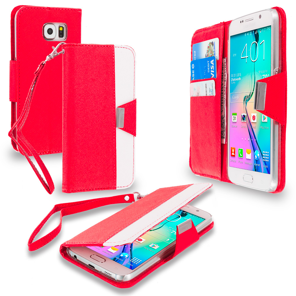 Samsung Galaxy S6 Red Wallet Magnetic Metal Flap Case Cover With Card Slots
