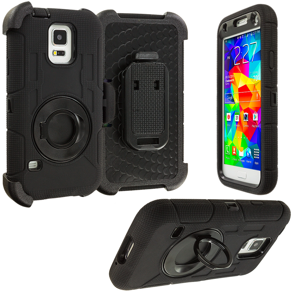 Samsung Galaxy S5 Black Hybrid Heavy Duty Shockproof Armor Case Cover With Rotating Belt Clip Holster