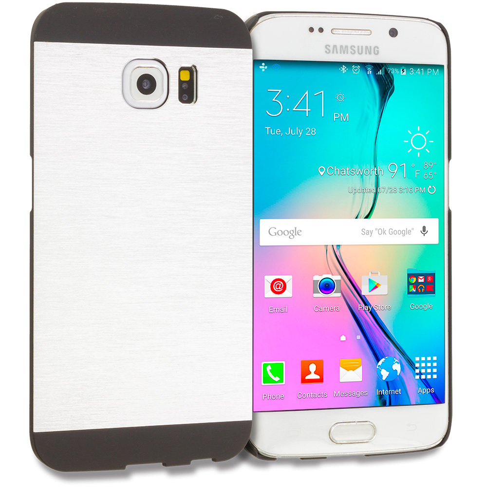 Samsung Galaxy S6 Edge Silver / Black Hybrid Luxury Aluminum Hard Case Cover