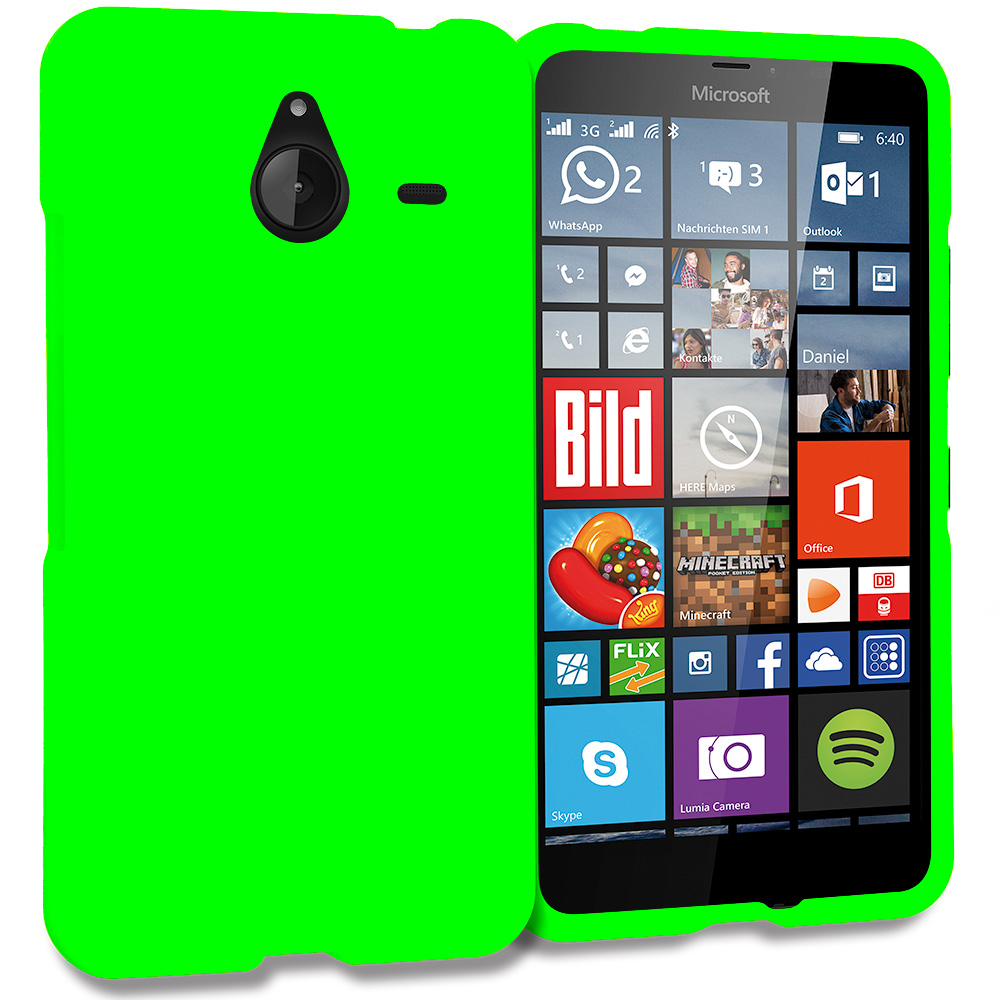 Microsoft Lumia 640 XL Neon Green Hard Rubberized Case Cover