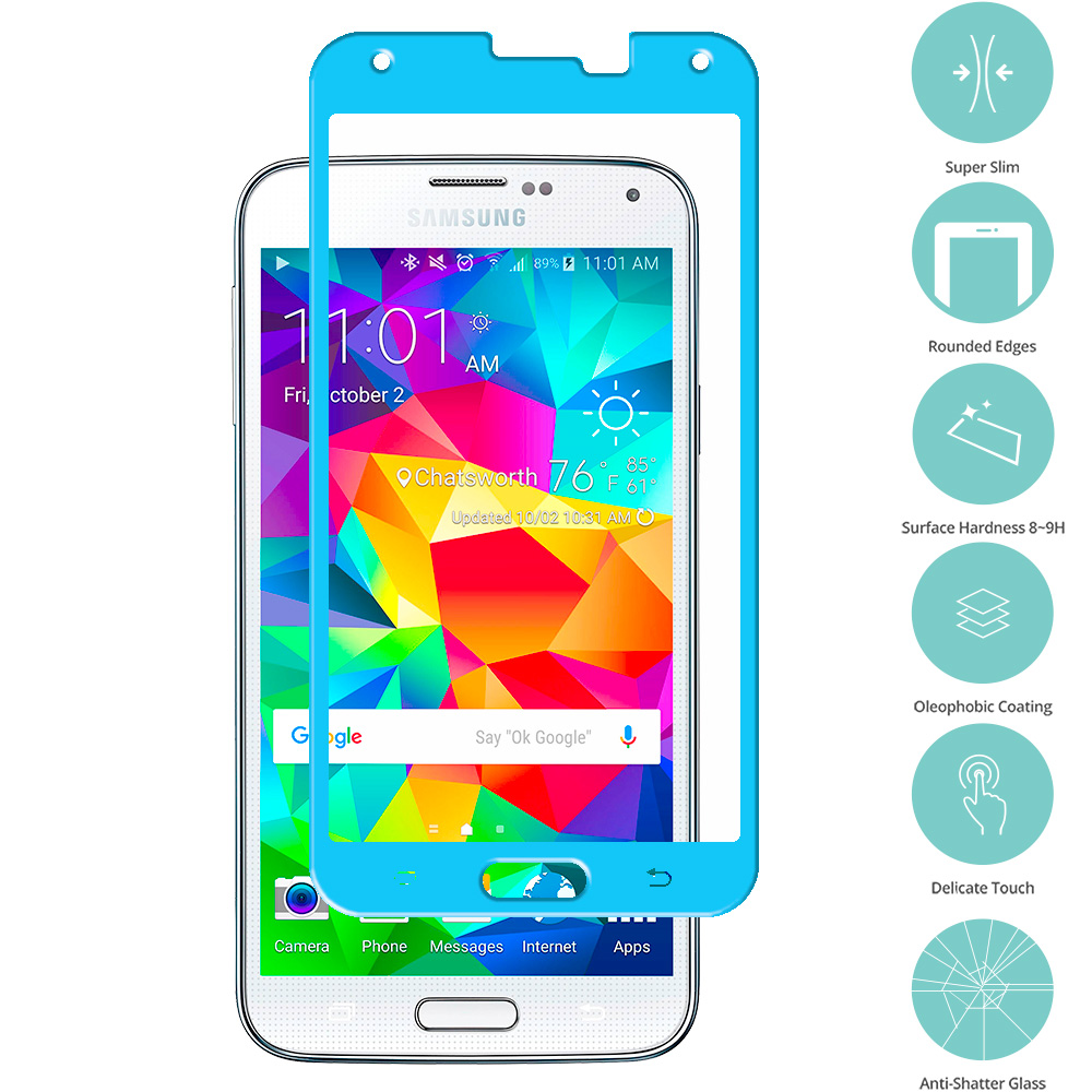 Samsung Galaxy S5 Baby Blue Tempered Glass Film Screen Protector Colored