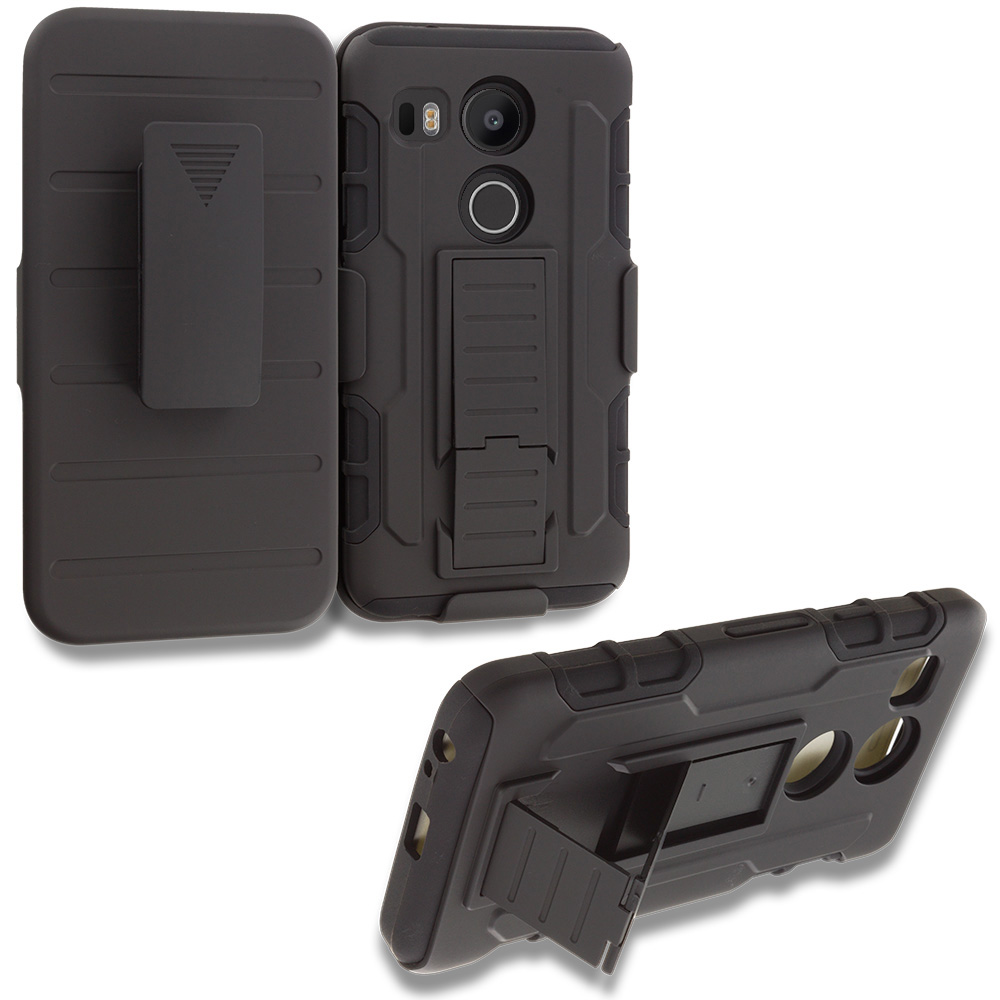 LG Google Nexus 5X Black Hybrid Rugged Robot Armor Heavy Duty Case Cover with Belt Clip Holster