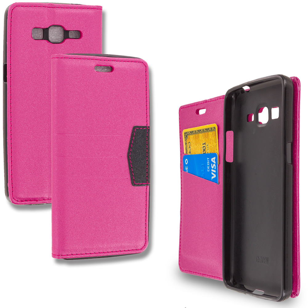 Samsung Galaxy Grand Prime LTE G530 Hot Pink Wallet Flip Leather Pouch Case Cover with ID Card Slots