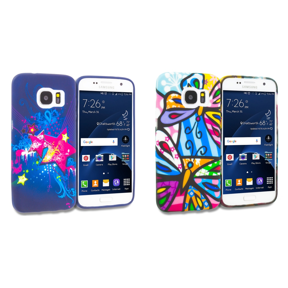 Samsung Galaxy S7 Combo Pack : Pink Blue Star TPU Design Soft Rubber Case Cover