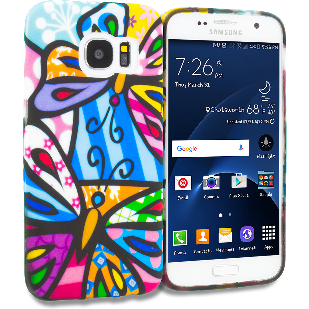 Samsung Galaxy S7 Rainbow Butterfly TPU Design Soft Rubber Case Cover