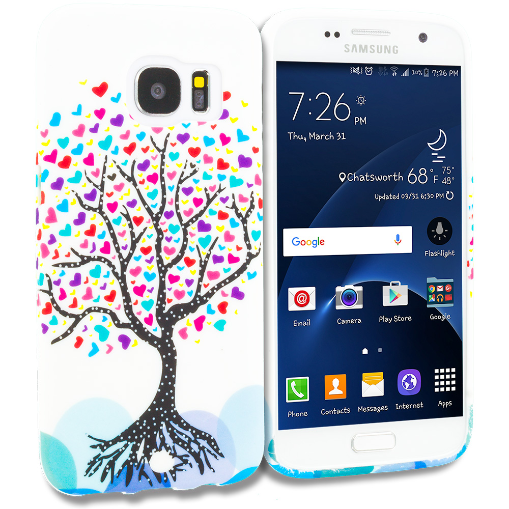 Samsung Galaxy S7 Edge Love Tree on White TPU Design Soft Rubber Case Cover