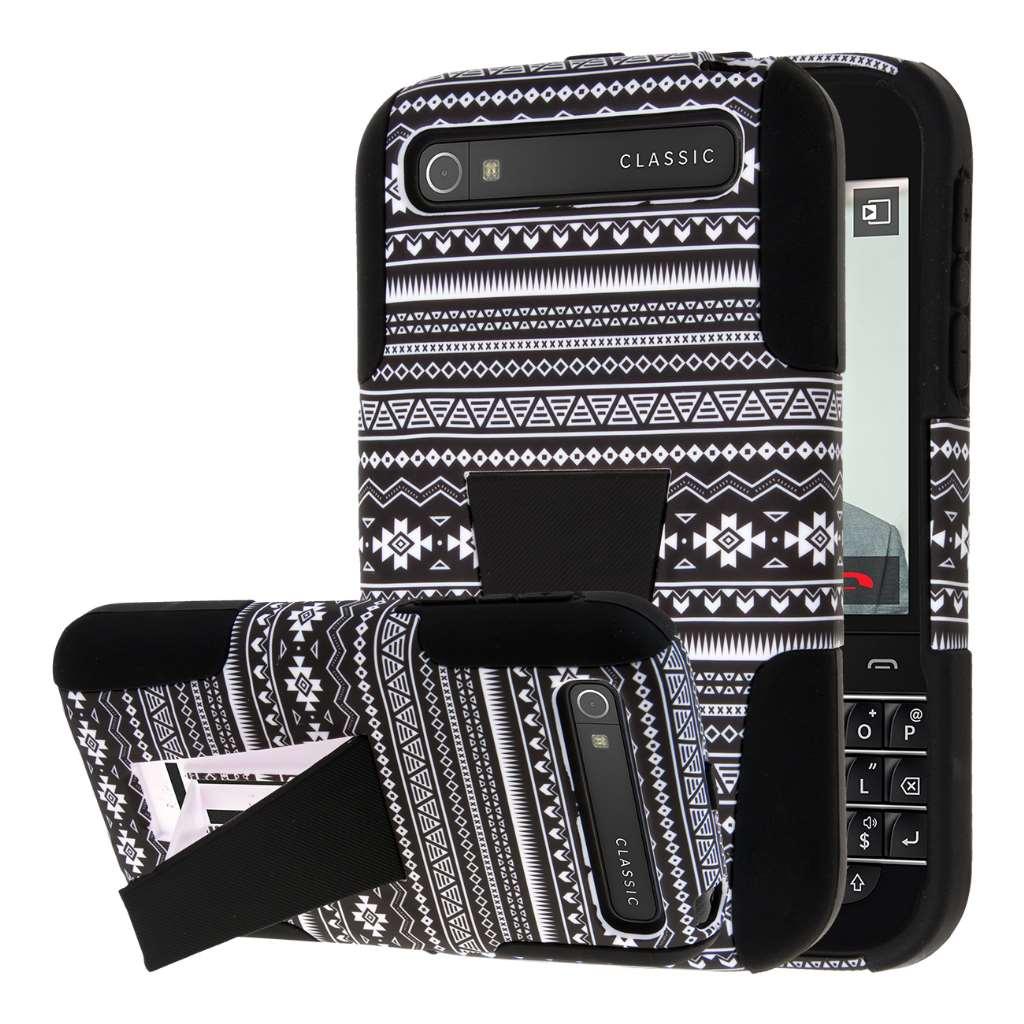 BlackBerry Classic - Black Aztec MPERO IMPACT X - Kickstand Case Cover
