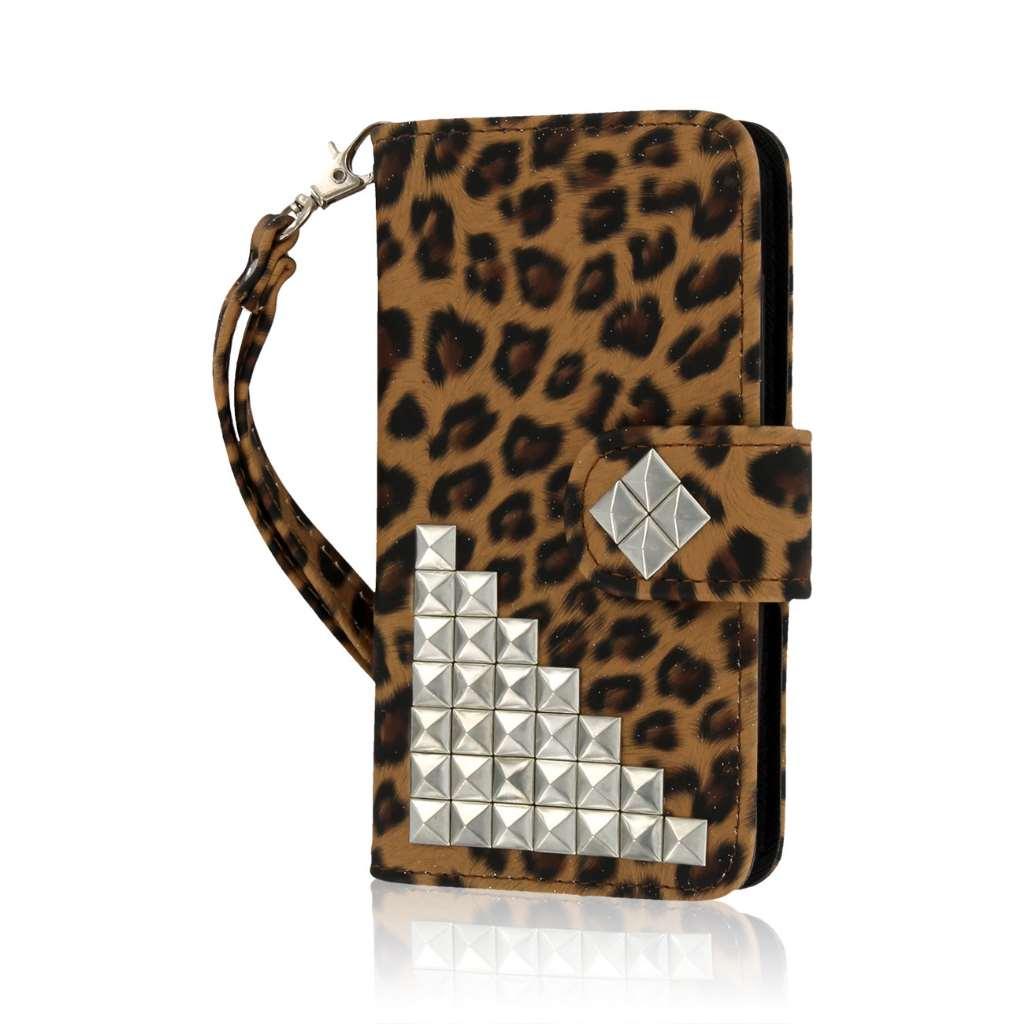 Nokia Lumia 635 - Studded Leopard MPERO FLEX FLIP Wallet Case