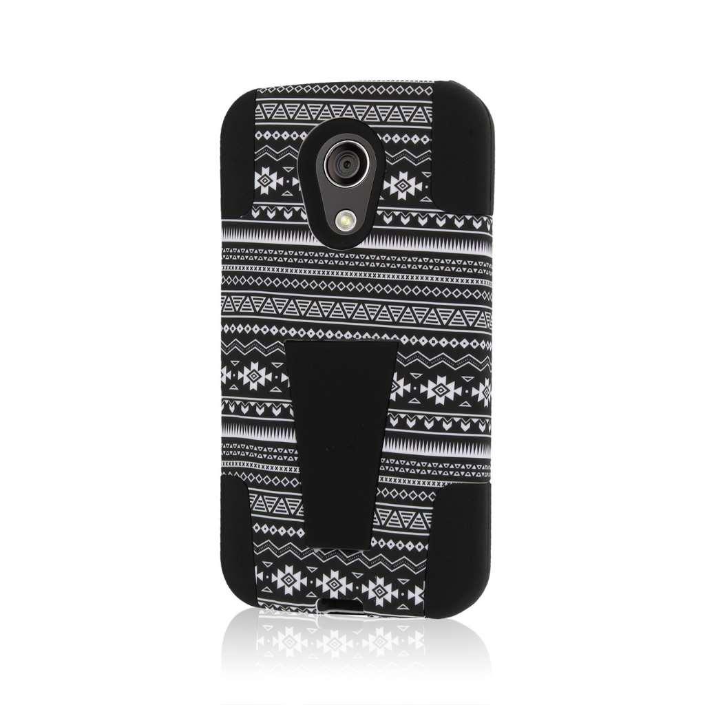 Motorola Moto G 2nd Gen 2014 - Black Aztec MPERO IMPACT X - Kickstand Case