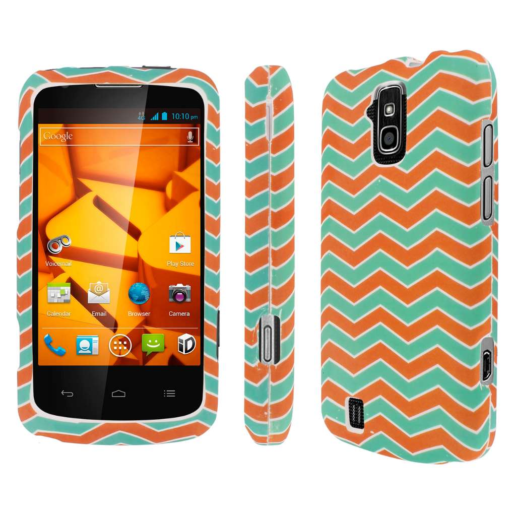 ZTE Force - Mint Chevron MPERO SNAPZ - Rubberized Case Cover