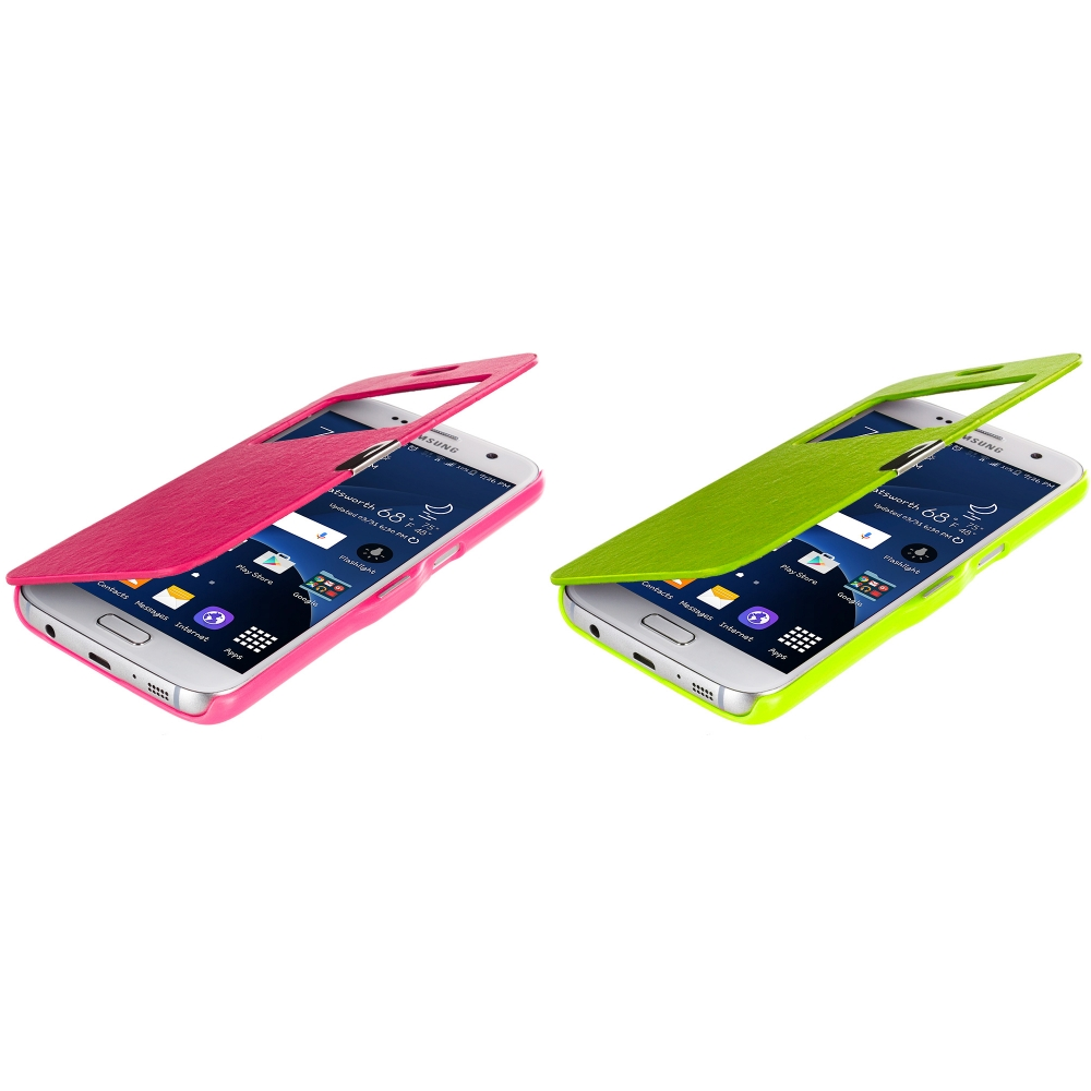 Samsung Galaxy S7 Combo Pack : Hot Pink With Window Magnetic Flip Wallet Case Cover Pouch