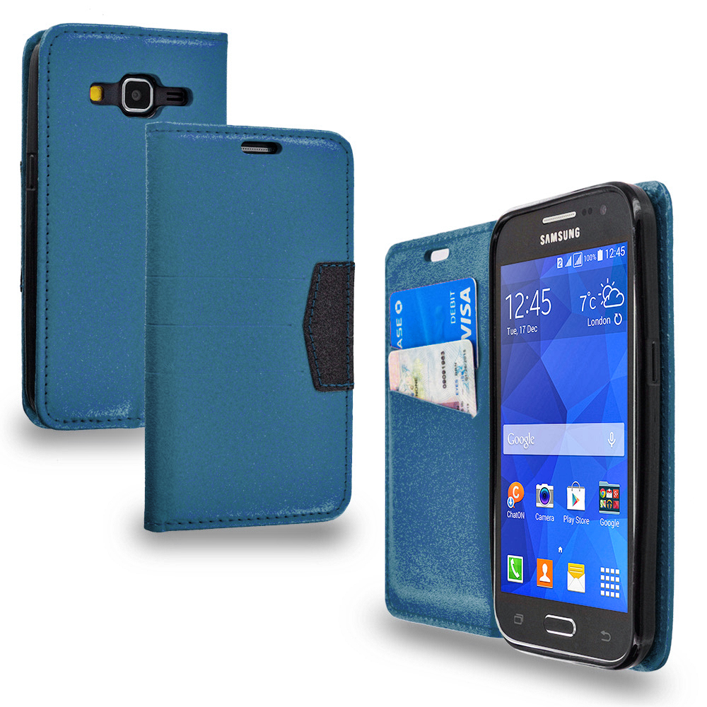 Samsung Galaxy Prevail LTE Core Prime G360P Navy Blue Wallet Flip Leather Pouch Case Cover with ID Card Slots