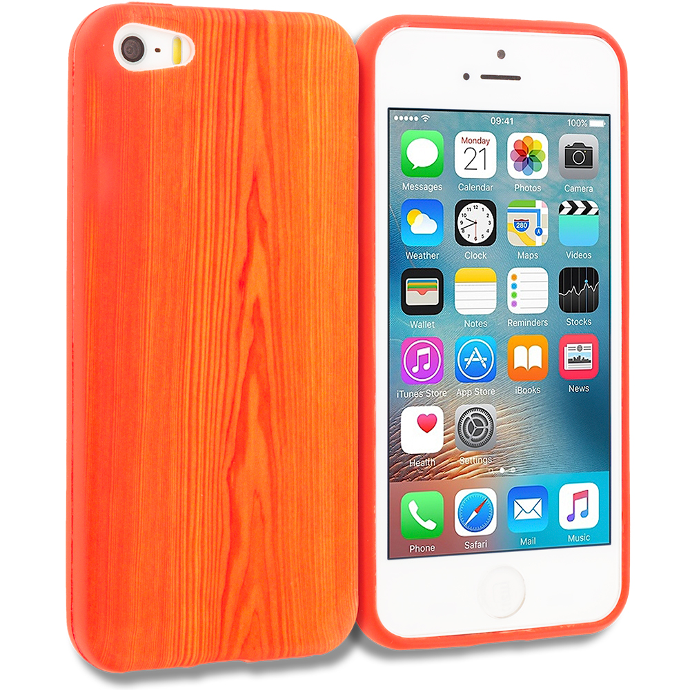 Apple iPhone 5/5S/SE Wood Grain TPU Design Soft Rubber Case Cover