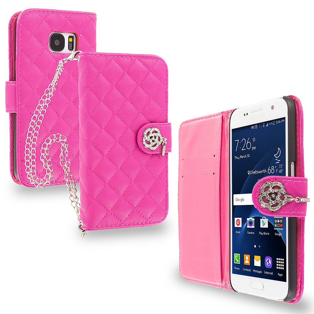 Samsung Galaxy S7 Hot Pink Luxury Wallet Diamond Metal Chain Plaid Case Cover With Slots