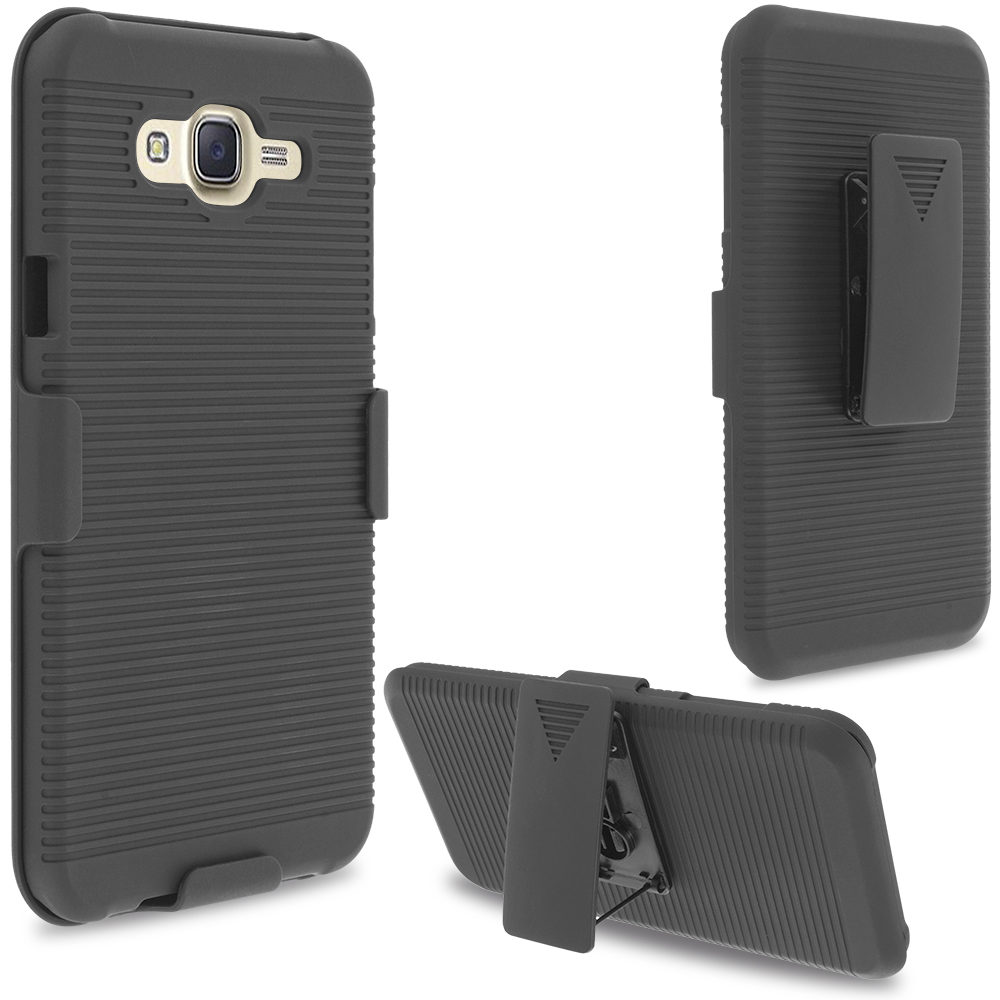 Samsung Galaxy J7 Black Belt Clip Holster Hard Case Cover