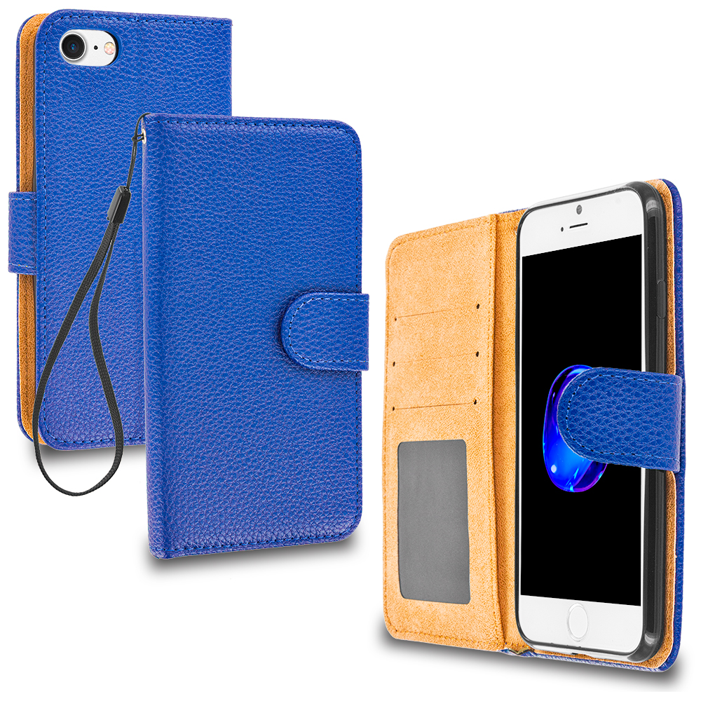 Apple iPhone 7 Plus Blue Leather Wallet Pouch Case Cover with Slots