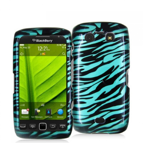 BlackBerry Torch 9850 9860 Black / Baby Blue Zebra Design Crystal Hard Case Cover