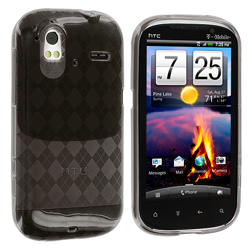 HTC Amaze 4G Smoke Checkered TPU Rubber Skin Case Cover