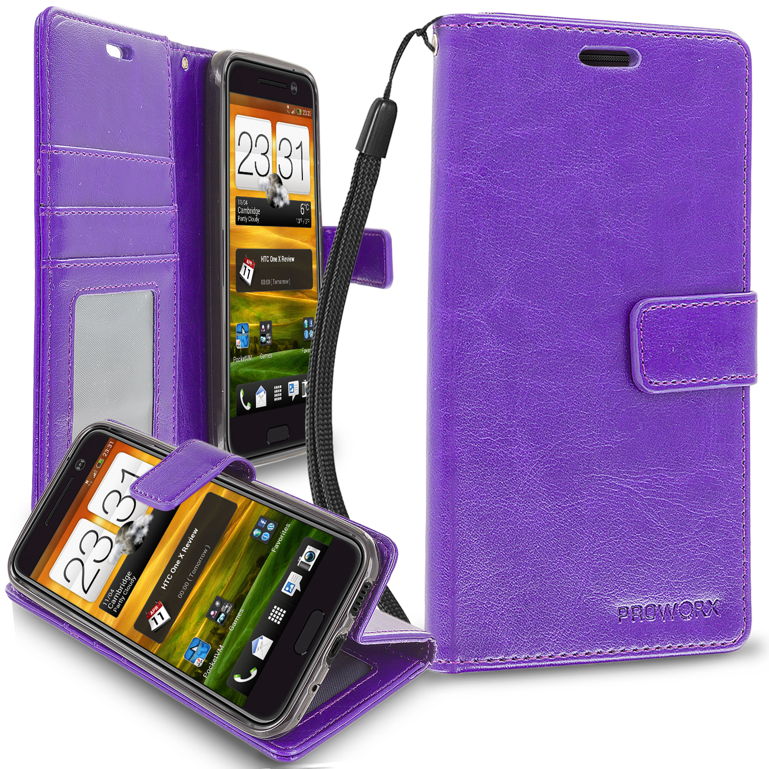 HTC One 10 M10 Purple ProWorx Wallet Case Luxury PU Leather Case Cover With Card Slots & Stand