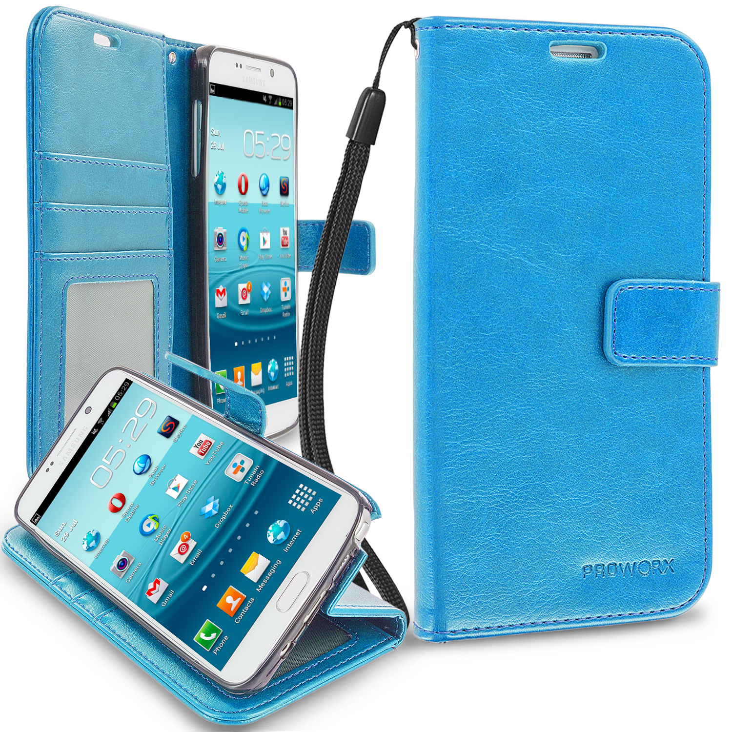 Samsung Galaxy Note 5 Baby Blue ProWorx Wallet Case Luxury PU Leather Case Cover With Card Slots & Stand
