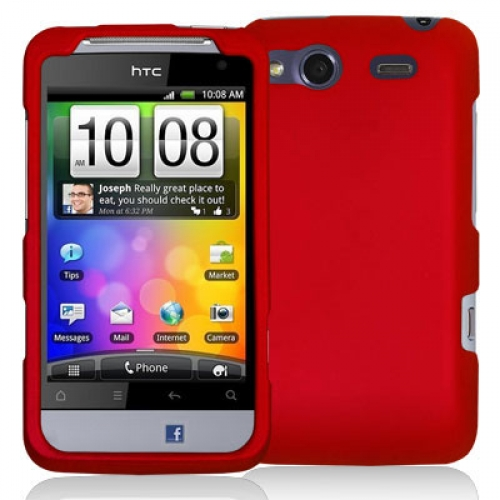 HTC Salsa Red Hard Rubberized Case Cover