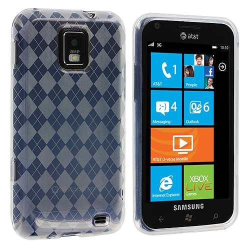 Samsung Focus S i937 Clear Checkered TPU Rubber Skin Case Cover