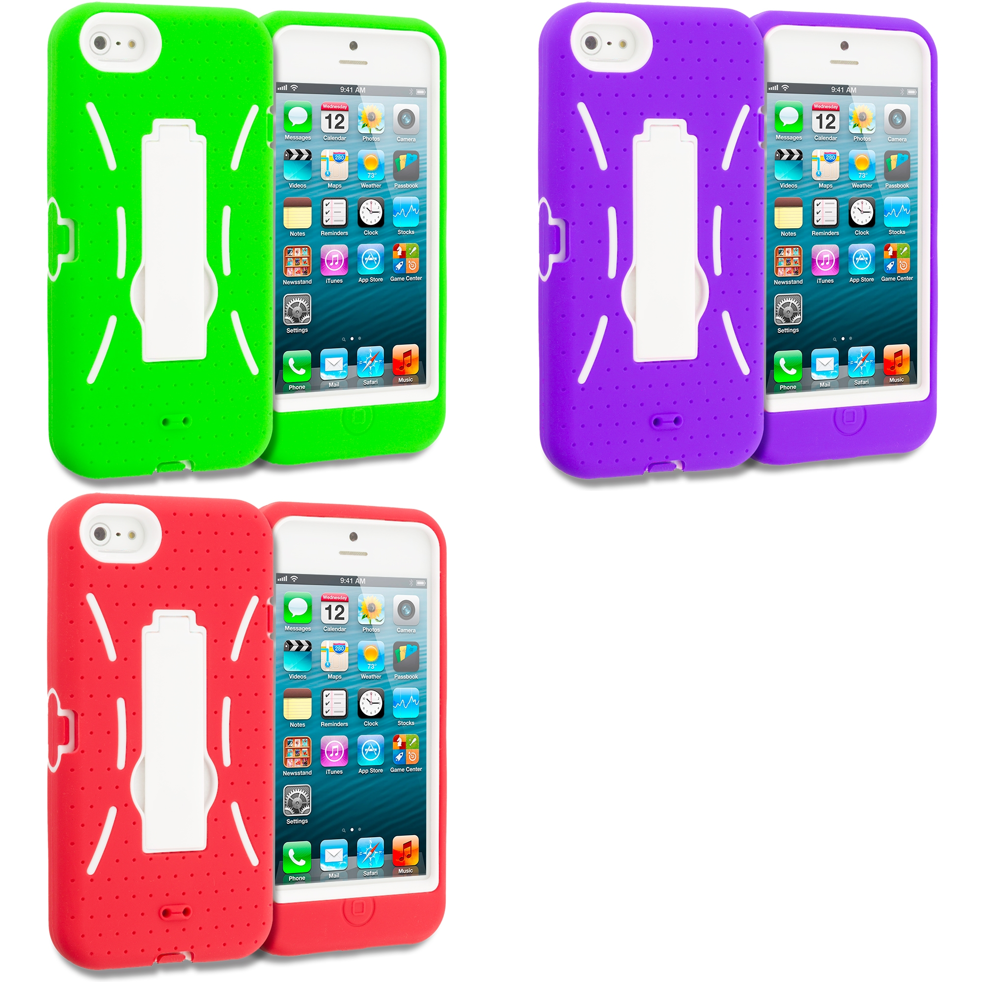 Apple iPhone 5/5S/SE Combo Pack : Neon Green / White Hybrid Heavy Duty Hard/Soft Case Cover with Stand