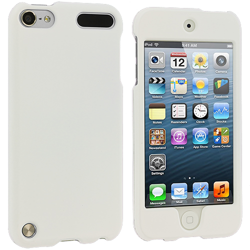 Apple iPod Touch 5th 6th Generation White (Covered) Hard Rubberized Case Cover
